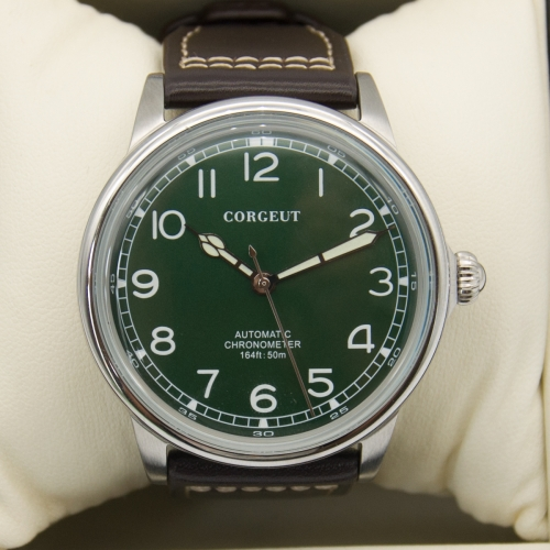 41mm Corgeut green dial SS case luminous leatcher automatic movement mens Watch