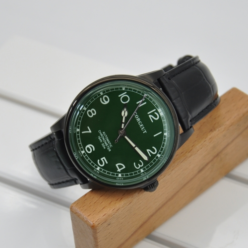 41mm Corgeut green dial PVD case luminous leatcher automatic movement mens Watch