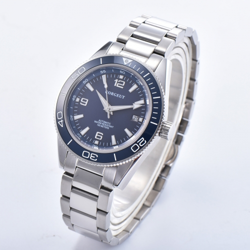 41mm Corgeut blue dial bracelet sapphire glass Luminous miyota Automatic mens Watch