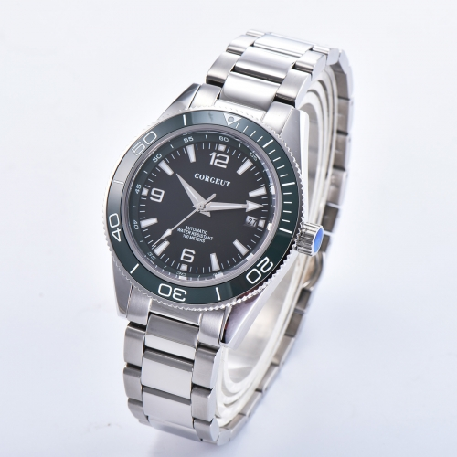 41mm Corgeut green dial bracelet sapphire glass Luminous miyota Automatic mens Watch