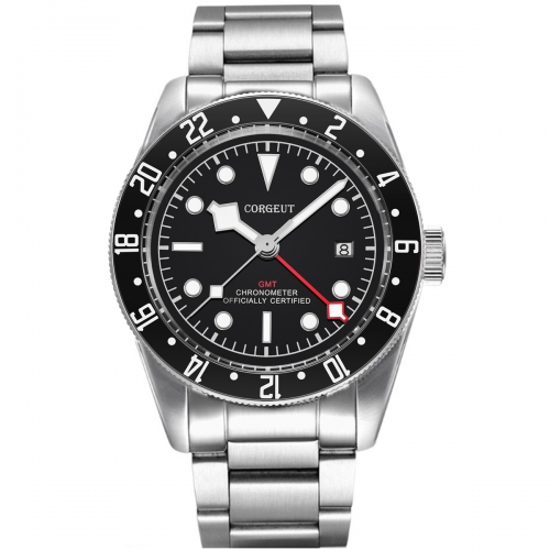 41mm Corgeut GMT Military Black Dial Bay Black Bezel Automatic Mens Watches