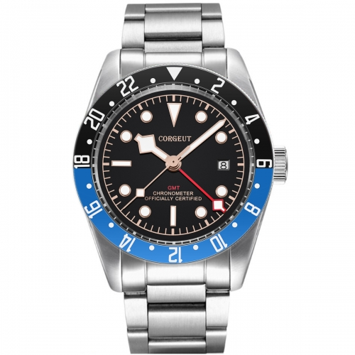 Corgeut 41mm GMT Military Black Dial Bay date Black Bezel Automatic Mens Watches
