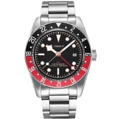 41mm Corgeut Military GMT date Black Dial Bay Black Bezel Automatic Mens Watches