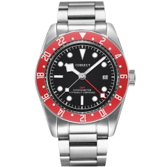 Corgeut 41mm Military GMT date Black Dial Bay Black Bezel Automatic Mens Watches